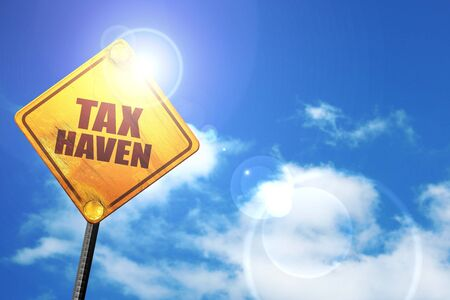 haven: tax haven, 3D rendering, a yellow road sign