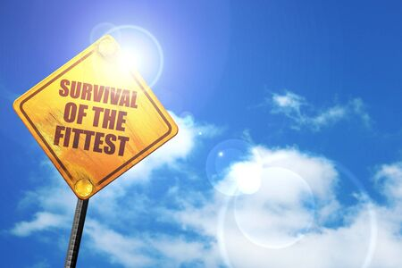 instincts: survival of the fittest, 3D rendering, a yellow road sign Stock Photo