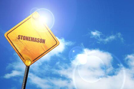 stonemason: stonemason, 3D rendering, a yellow road sign Stock Photo