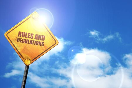 constraint: rules and regulations, 3D rendering, a yellow road sign