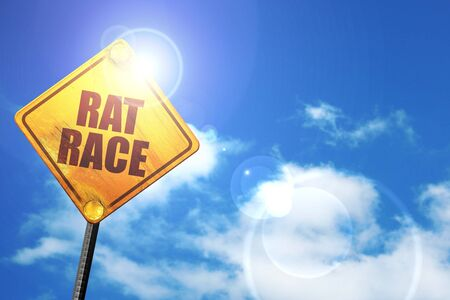 downshift: rat race, 3D rendering, a yellow road sign Stock Photo