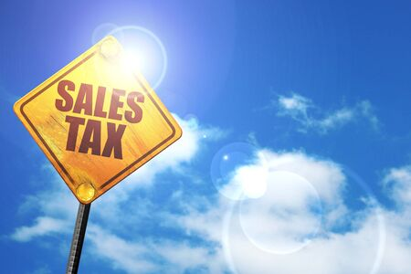 taxable income: sales tax, 3D rendering, a yellow road sign