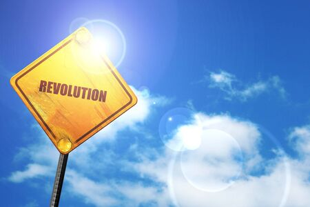 revolution: revolution, 3D rendering, a yellow road sign