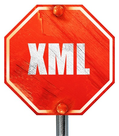 xml: xml, 3D rendering, a red stop sign