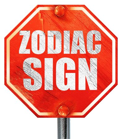 premonition: zodiac sign, 3D rendering, a red stop sign