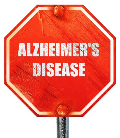 alzheimers: Alzheimers disease background with some soft flowing lines, 3D rendering, a red stop sign