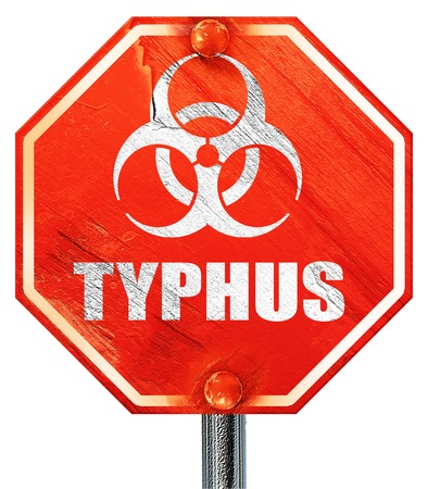 typhus: Typhus concept background with some soft smooth lines, 3D rendering, a red stop sign