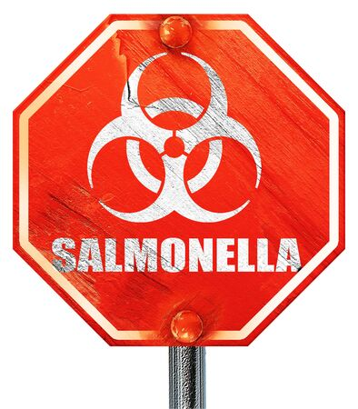 salmonella: Salmonella concept background with some soft smooth lines, 3D rendering, a red stop sign