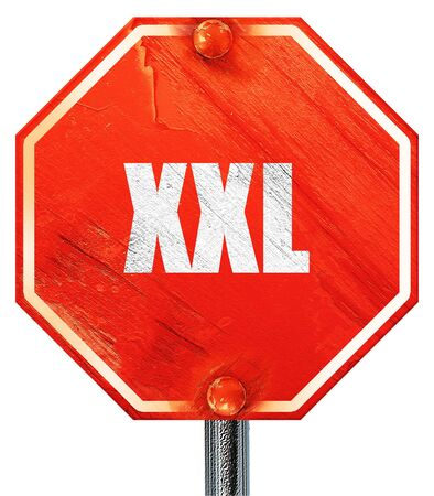 xxxl: xxl sign background with some soft smooth lines, 3D rendering, a red stop sign Stock Photo