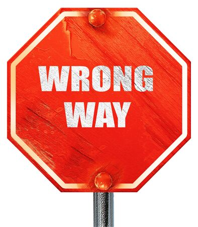 wrong way: wrong way, 3D rendering, a red stop sign Stock Photo