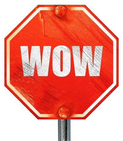 disturbed: wow, 3D rendering, a red stop sign Stock Photo