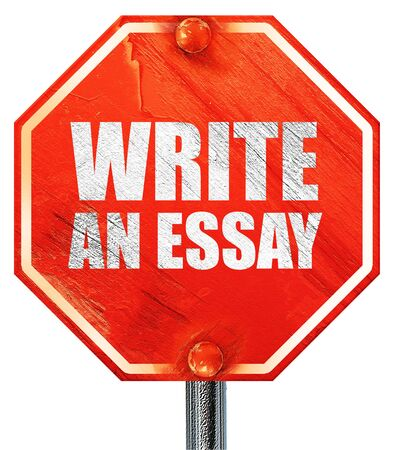 essay: write an essay, 3D rendering, a red stop sign Stock Photo