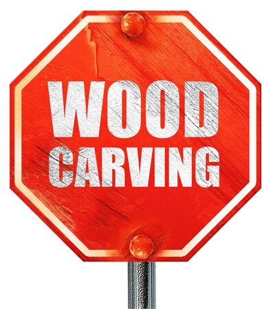 wood carving 3d: wood carving, 3D rendering, a red stop sign