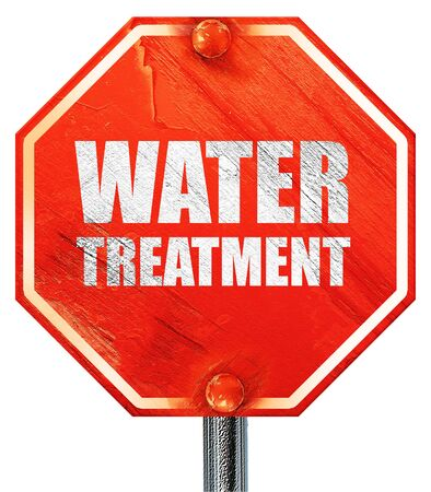 water treatment, 3D rendering, a red stop sign