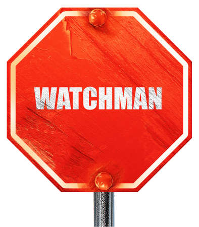 a watchman: watchman, 3D rendering, a red stop sign Stock Photo
