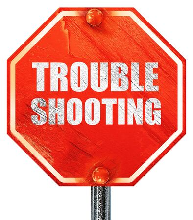 solucion de problemas: troubleshooting, 3D rendering, a red stop sign