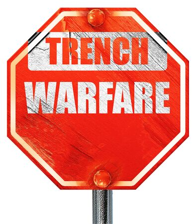 ww1: trench warfare sign with some soft lines, 3D rendering, a red stop sign Stock Photo