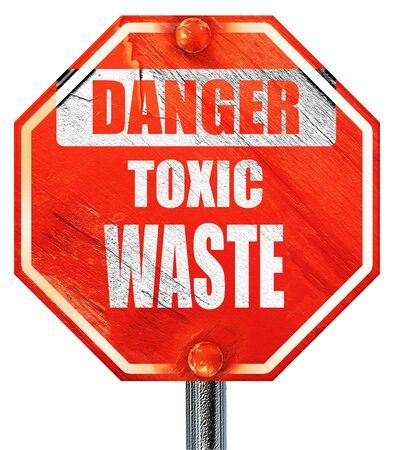 toxic waste: Toxic waste sign with some smooth lines, 3D rendering, a red stop sign