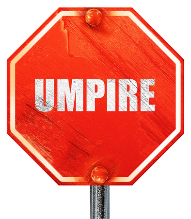 an umpire: umpire, 3D rendering, a red stop sign
