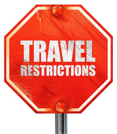 restrictions: travel restrictions, 3D rendering, a red stop sign