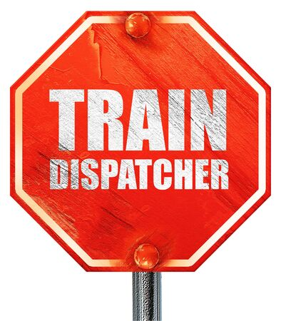 dispatcher: train dispatcher, 3D rendering, a red stop sign