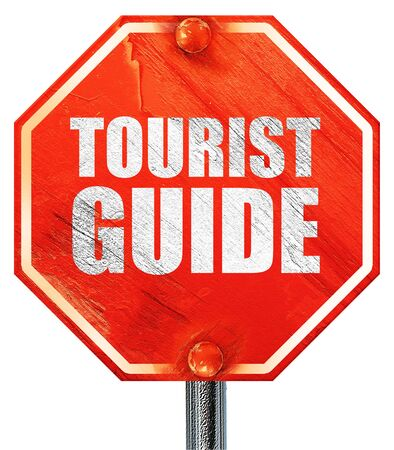 tourist guide: tourist guide, 3D rendering, a red stop sign