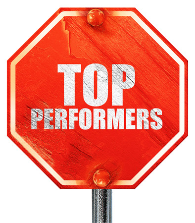 performers: top performers, 3D rendering, a red stop sign
