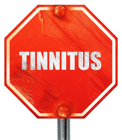 noise isolation: tinnitus, 3D rendering, a red stop sign