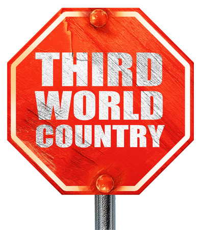 developing country: third world country, 3D rendering, a red stop sign Stock Photo