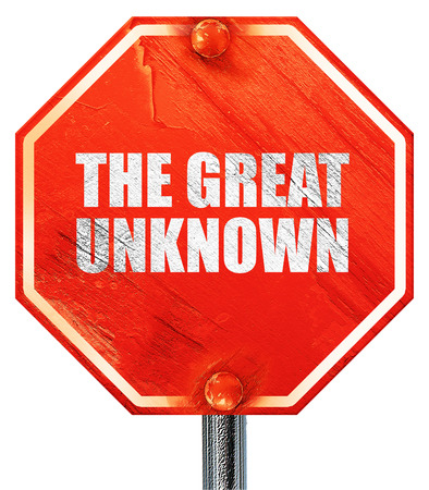 unknown: the great unknown, 3D rendering, a red stop sign