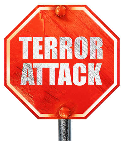 caliphate: terror attack, 3D rendering, a red stop sign