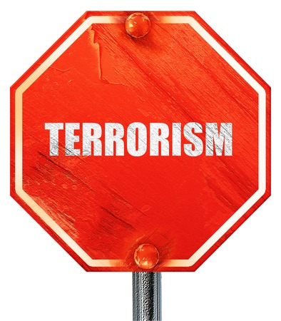 road warrior: terrorism, 3D rendering, a red stop sign Stock Photo