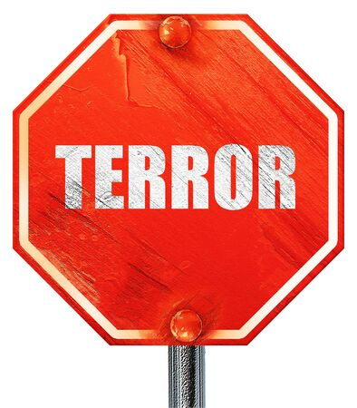 caliphate: terror, 3D rendering, a red stop sign