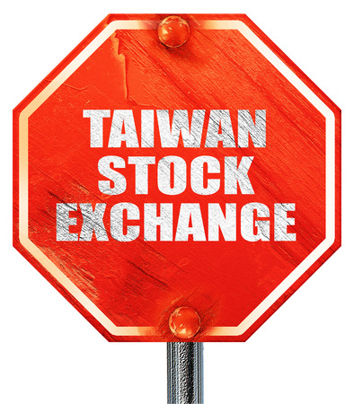 wallstreet: taiwan stock exchange, 3D rendering, a red stop sign Stock Photo