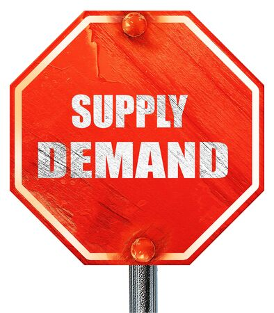 demand: supply demand, 3D rendering, a red stop sign Stock Photo