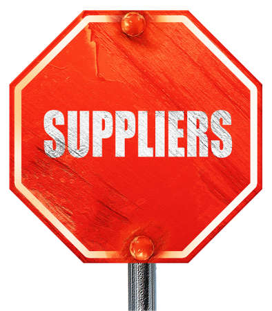 suppliers: suppliers, 3D rendering, a red stop sign