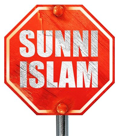 sunni: sunni islam, 3D rendering, a red stop sign Stock Photo