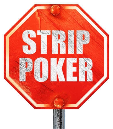 strip club: strip poker, 3D rendering, a red stop sign
