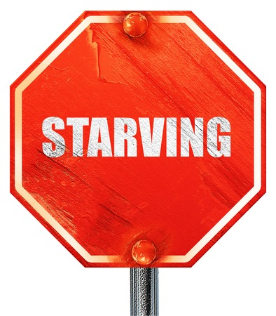 starvation: starving, 3D rendering, a red stop sign