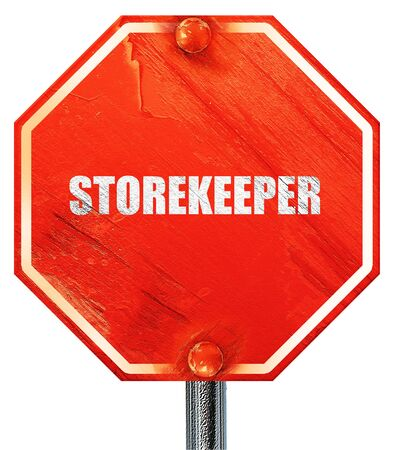 stockman: storekeeper, 3D rendering, a red stop sign