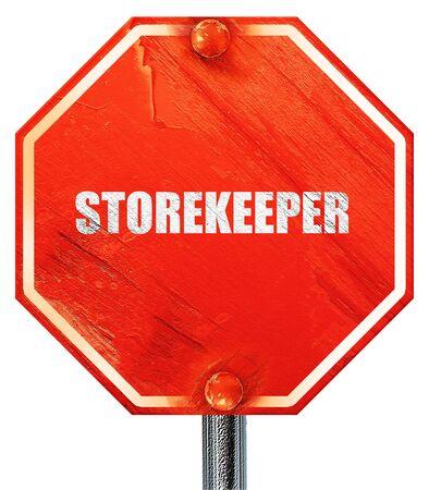 storekeeper: storekeeper, 3D rendering, a red stop sign