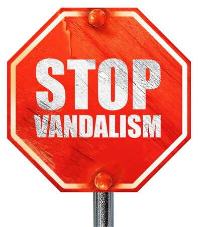 vandalize: stop vandalism, 3D rendering, a red stop sign Stock Photo