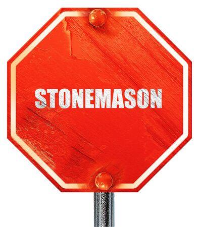 stonemason: stonemason, 3D rendering, a red stop sign