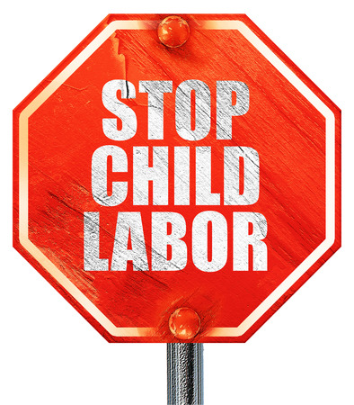 slave labor: stop child labor, 3D rendering, a red stop sign Stock Photo