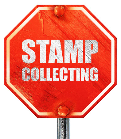 stamp collecting: stamp collecting, 3D rendering, a red stop sign Stock Photo