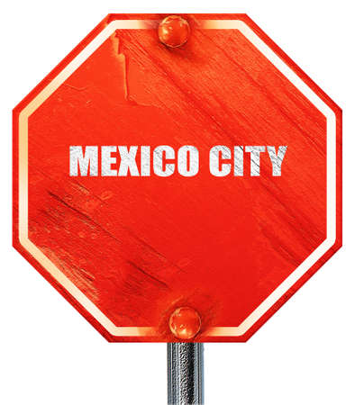 tourists stop: mexico city, 3D rendering, a red stop sign Stock Photo