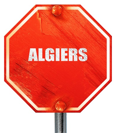 algiers: algiers, 3D rendering, a red stop sign