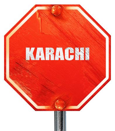 karachi: karachi, 3D rendering, a red stop sign Stock Photo