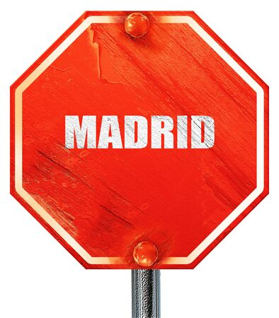 tourists stop: madrid, 3D rendering, a red stop sign Stock Photo