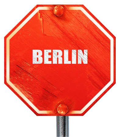 tourists stop: berlin, 3D rendering, a red stop sign Stock Photo